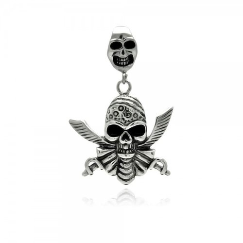 Large Skull Dagger Pirate Skull Stainless Steel Pendant Gothic Biker Skater Independant