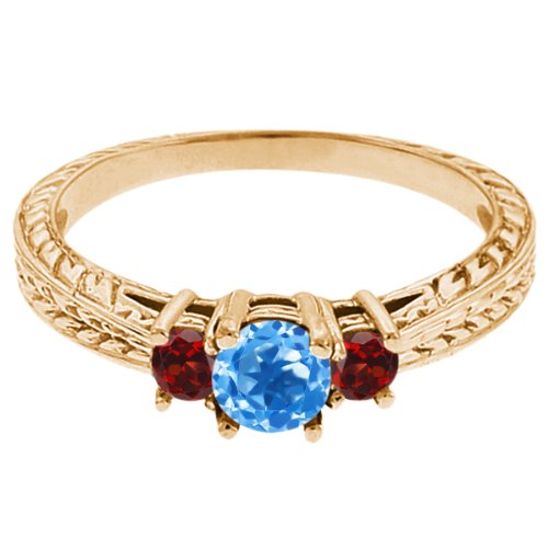 0.57 Ct Round Swiss Blue Topaz Red Garnet 18K Yellow Gold 3-Stone Ring