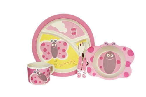 Bamboo Fiber Funny Kids Set Madame Butterfly Bpa Free, Non-Toxic [Free Baby Meal Organic Supplement]