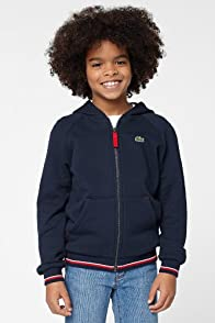 Boy's Full Zip Tipped Hooded Sweatshirt