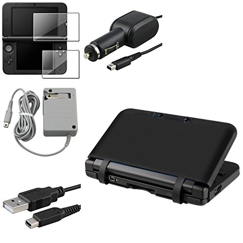 Everydaysource® Compatible With Nintendo 3Ds Xl Black Gel Skin Case Cover+Films+Travel+Car Charger+Usb Cable front-258106
