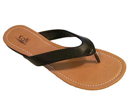 Kali Footwear Womens Cocoa Flat Thong Sandals, Black 10