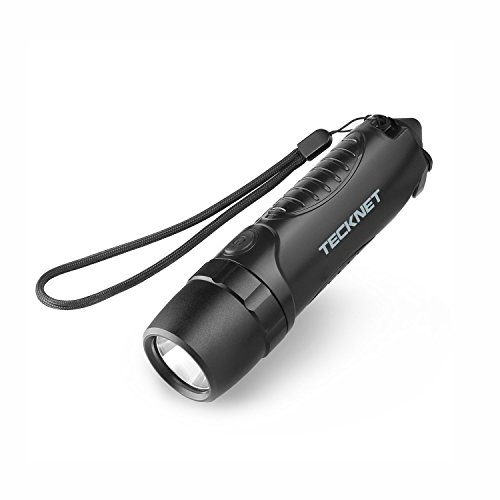 TeckNet® Torche étanche équipée d'une batterie de secours de 5200 mAh, d'cutter coupe ceinture de sécurité et d'un brise-vitre