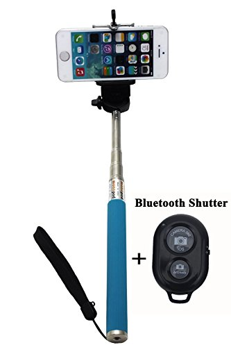 Ufcit Extendable Selfie Handheld Stick Monopod With Adjustable Phone Holder And Bluetooth Wireless Remote Shutter For Iphone Samsung And Other System Over Ios 6.0 And Android 4.2.2 Smartphones (Blue With Shutter)