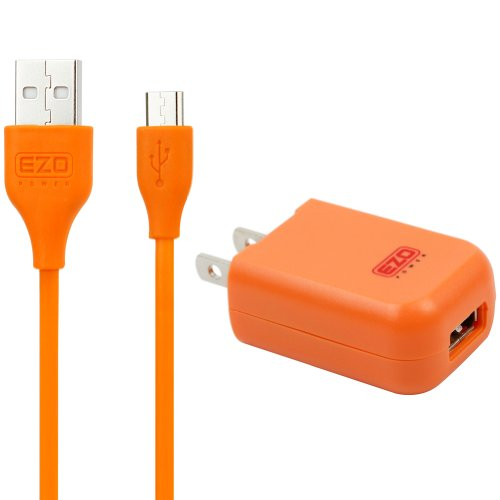 Ezopower 2A /10W Usb Ac Travel Wall Charger Adapter W/ 10Ft Micro-Usb Cable (Orange) For Samsung Galaxy Tab 4 10.1/ Tab 4 8.0/ Tab 4 7.0; Dell Venue 8/ Venue 7