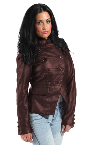 Gorgeous Faux Leather Jacket, Military Style Blazer, Light Summer Jacket, in Brown, Size 4