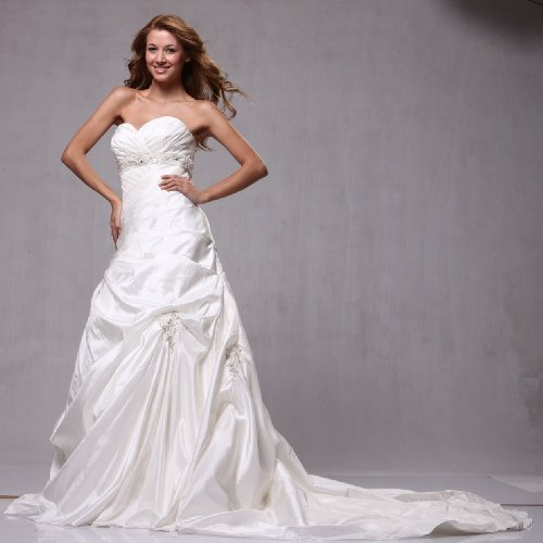W70 Taffeta A-line Strapless Pick-up Wedding