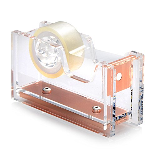 Zodaca [Deluxe Acrylic Design] Mini Desktop Tape Dispenser, Clear/Rose Gold (With Tape) (Portfolio Replacement Parts compare prices)