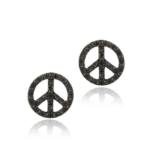 Sterling Silver Black Diamond Accent Circle Peace Sign Earrings