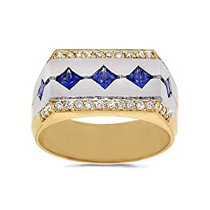 Men's Diamond Ring - Sapphire with Pave Border Men's Ring in 18k Gold Two-Tone (.30 dia / 1.00 sap ct. tw. / G Color / VS1-VS2 Clarity) - 7