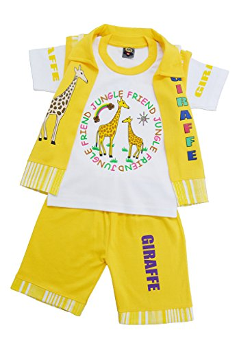 Pride Apparel Kids Wear Cotton Printed Top with coat & Bottom Boys 3 Combo set (SVS0000846YELLOW_YELLOW_XLarge)