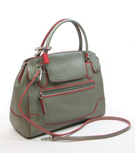 Coach   COACH Poppy Large Flap Satchel in Edgestain Leather in Grey / Coral 25058