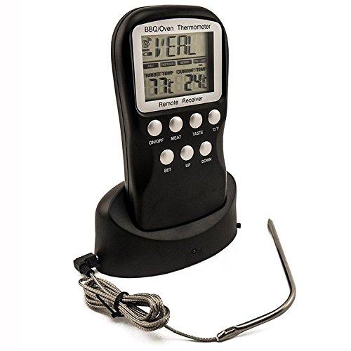 ® Remote Wireless Digital BBQ Grill Thermometer Küche Backofen Ofenthermometer Funk Grillthermometer Bratenthermometer mit 8 Fleisch Auswahl (Schwarz)