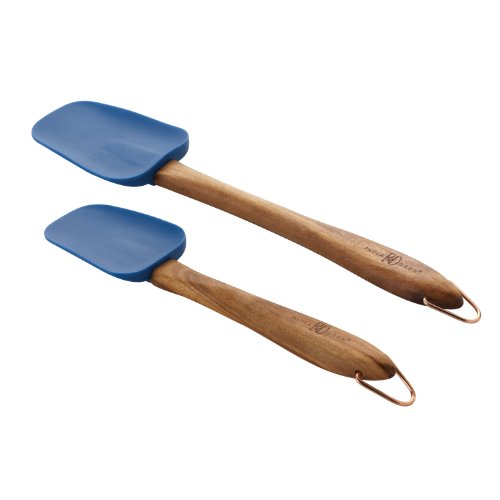 Paula Deen Signature Kitchen Tools 2-Piece Silicone Acacia Wood Spoonula Set, 10-Inch and 13-Inch, Blueberry