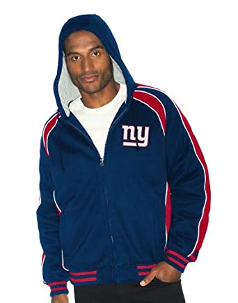 NFL New York Giants Polyfilled Color Blocked Fleece Jacket Quilt Lined Mens by G-III Sports