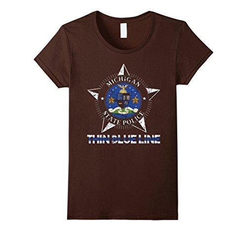 [Women's Michigan State Police Shirt Michigan State Trooper Shirt XL Brown] (Baby State Trooper Costume)