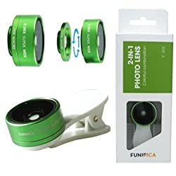 Selfie Phone Camera Lens 2 in 1 Fisheye Lens With 0.36X Ultra Wide Angle 15X Macro Lens for iPhone 6 Samsung Green