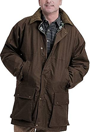 New mens waxed cotton padded jacket coat with hood outdoor countryside oiled fishing hunting shooting farming riding check lining (brown small)