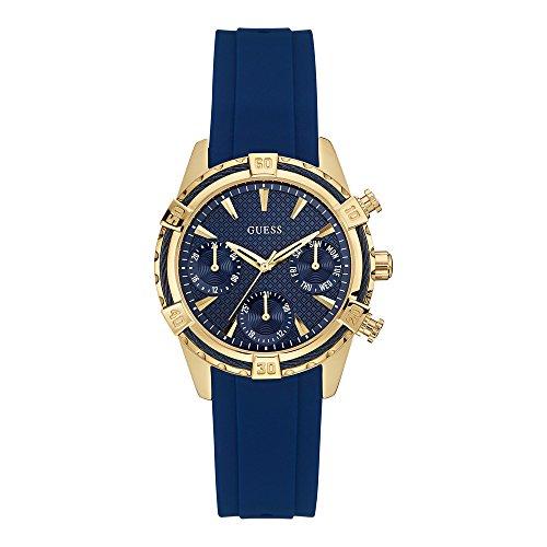 Guess W0562L2 36,5 mm De acero inoxidable bañado en oro azul Mineral para mujer reloj de goma