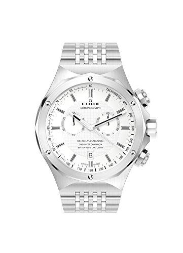 EDOX  - Reloj de cuarzo unisex, correa de acero inoxidable color plateado