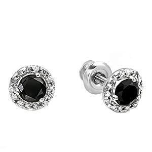 0.35 Carat (ctw) 10K White Gold Round Black & White Diamond Halo Stud Earrings