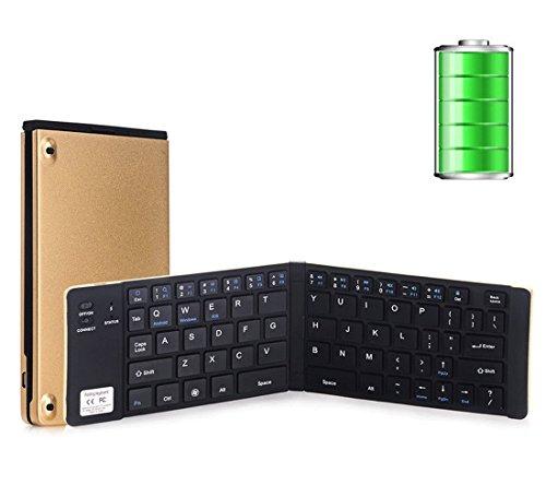 Bluetooth キーボード 超薄 内蔵電池 Windows/iOS/Android切替 折りたたみ式 iPad Air/iPhone6s /6s plus/Windows/Xperia 適用(ゴールド/ブラック)(シルバー/レッド)(シルバー/ブルー)(日本語取説付き)【ゴールド/ブラック】