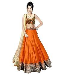 Astha fashion Orange banglore silk bridal semi sttiched lehenga choliB