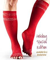Toesox Grip Half Toe Scrunch Knee High Red Tinsel Small