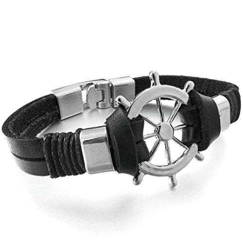 gnzoe-uomo-lega-genuino-in-pelle-bracciali-bangle-cord-steering-wheel-biker-nero-argento