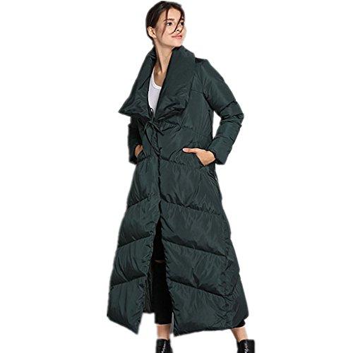 ZYQYJGF Lightweight Ispessita Delle Donne Outwear Puffer Giù Giacca Inverno Caldo Cappuccio Lungo Cappotti . Green . Xxl