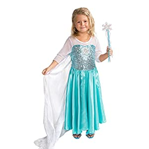 Butterfly Craze Girls Snow Queen Costume Snow Princess Dress with Snowflake Wand