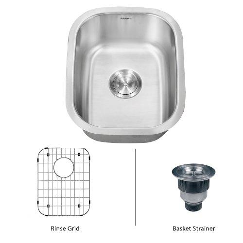 "Ruvati Rvm4110 Undermount Stainlesss Steel 15"" Bar Sink Single Bowl"