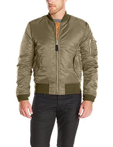 Alpha Industries Men`s Ma-­-1  Slim  Fit Bomber Flight Jacket, Vintage Olive, X-Small