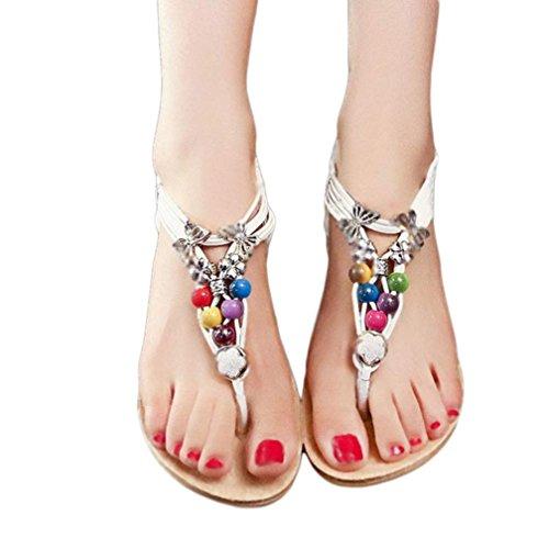 Sandali,Ouneed® Donna Sexy Girls Estate Scarpe sandali punta della clip sandali della spiaggia Dei Sandali Pantofole Boemia Fiore Tallone Scarpe Flip Flop (Bianco, 40)