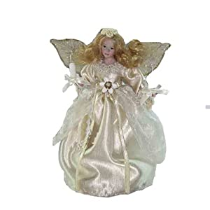 Kurt Adler 9-Inch UL 10 Light Ivory Angel Treetop with Fabric Hair