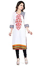 Feather Touch Women's Cotton Kurti (FT3127RD2_Red_42)