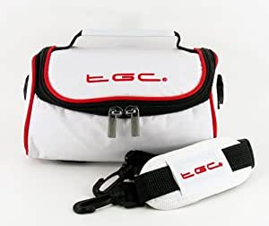 TGC ® Camera Case for BenQ DC 4500 with shoulder strap and Carry Handle (Cool White & Crimson Red)