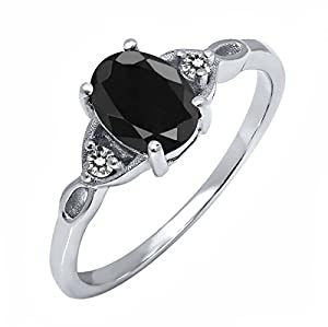 1.73 Ct Oval Black Sapphire and White Diamond 925 Sterling Silver Women's Ring