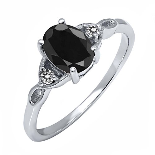 Sterling Silver Black Sapphire & White Diamond Women's Ring (1.73 cttw, Available in size 5, 6, 7, 8, 9)