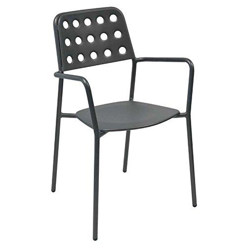 Emu 301692200Shot sedia impilabile con braccioli, 169, acciaio verniciato a polvere, ferro in stile antico