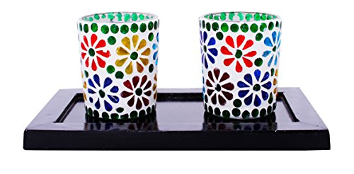 Lime Light Wood And Glass Votive Candle Holder ( 23cm X 13cm X 9cm, Set Of 2 Holders In A Tray, VOT-38 )