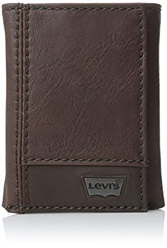 02. Levi's Men's Leather Trifold Two-Tone Wallet