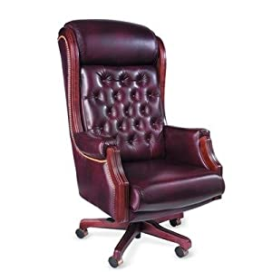 Presidential High-Back Office Chair with Arms Upholstery: Distinction-Merlot (Vinyl), Accent: Nail Head Accent, Finish: Honey Maple