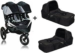 Baby Jogger 2015 Summit X3 Double Stroller, Black/Grey + 2 Baby Jogger Compact Pram Bassinet, Black Complete Set