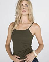 Bella Ladies 11 Rib Spaghetti Strap Tank Top, Army , Large