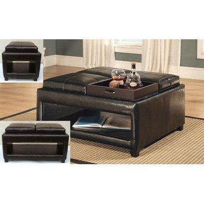 Square Ottoman with Shelf and Four Top Convertible Cushions (Convertible Coffee Table Black compare prices)