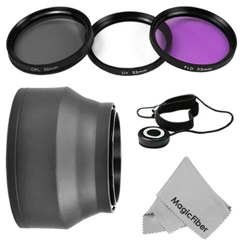 55Mm Professional Lens Accessory Kit For Sony Alpha Series A99 A77 A65 A58 A57 A55 A390 A100 Dslr Cameras With A 18-55Mm Zoom Lens - Includes: Vivitar Filter Kit (Uv, Cpl, Fld) + Collapsible Rubber Lens Hood + Cap Keeper + Premium Magicfiber Microfiber Le