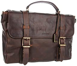 FRYE Men\'s Logan Antique Pull Up Flap Briefcase, Dark Brown, One Size
