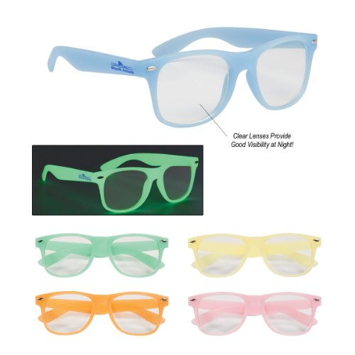 150 Customized Glow-In-The-Dark Glasses with Clear Lenses for $457 - That's only $3.04 ea. with your logo and rush shipped! Kineticpromos #6220