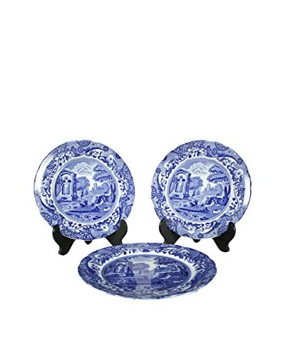 Set of 3 Flow Blue Spodes of England Plate, Blue/White